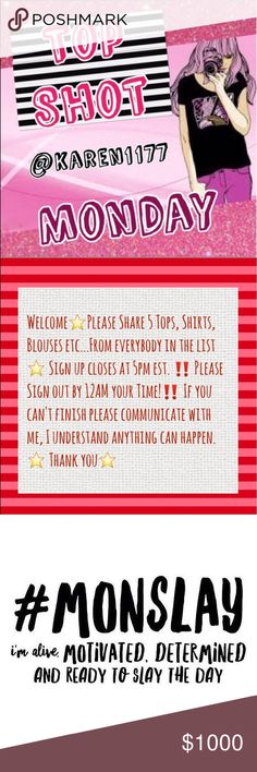 6/12 👗 Open•Monday 👗 Sign Up Welcome 😃🎉⭐️Please Share 5 Tops, Shirts, Blouses etc...From everybody in the list ⭐️ Sign up closes at 5pm est. ‼️ Please Sign out by 12AM your Time!‼️ If you can't finish please communicate with me, I understand anything can happen. ⭐️ Thank you⭐️ Other