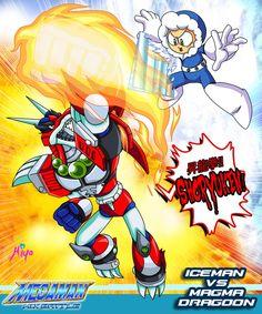 MMMB Iceman vs Magma Dragoon by Shayeragal on DeviantArt