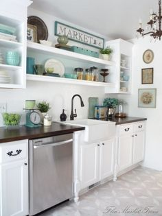 Flea market finds are great for decorating a kitchen. Open shelves, a popular trend in kitchen designs these days, are perfect for showing off collections and flea market style.