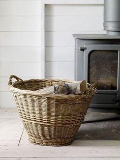 For the wood stove! French Baskets, Vintage Baskets, Baskets On Wall, Wicker Baskets, Old Wicker, Wood For Sale, Hm Home, Market Baskets, Flower Girl Basket