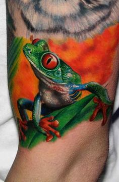 green frog Tattoo  - http://tattootodesign.com/green-frog-tattoo/  |  #Tattoo, #Tattooed, #Tattoos