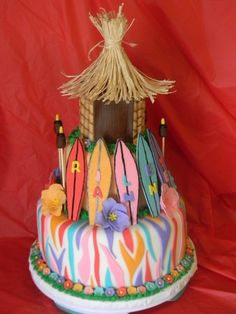 Luau - Cake made for a pre-teen with a Luau theme. Two tier cake in fondant Tiki hut is RKT w Pavoli wafers. Luau Cakes, Beach Cakes, Party Cakes, Luau Birthday, Birthday Cake Girls, Birthday Cakes, Preteen Birthday, Birthday Desserts, 12th Birthday