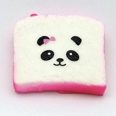 Kawaii Squishies - Panda Bow Toast - Hot Pink