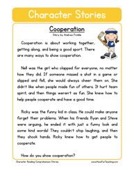 This Reading Comprehension Worksheet - Cooperation is for teaching reading comprehension. Use this reading comprehension story to teach reading comprehension. Informations About Reading Comprehension Reading Comprehension Worksheets, Reading Fluency, Reading Passages, Reading Strategies, Reading Stories, English Stories For Kids, Moral Stories For Kids, Short Stories For Kids, Social Stories