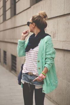Mint Cardigan & stripe top...