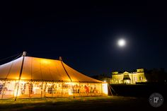 Evening glow at a marquee wedding in the park at Holkham Hall.  Holkham Park, Marquee Wedding, Evening Lighting, Wedding Venue, Norfolk Wedding