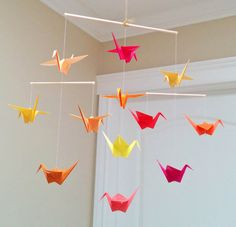 Origami Crane Mobile  Red Orange and Yellow  Ready to by MadeByJo
