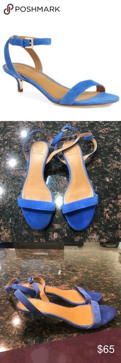 Tory Burch Suede Ankle Strap Kitten Heels Tory Burch Suede Ankle Strap Kitten Heels. Size 7.5. Perfect for spring! Only worn twice. Minimal signs of wear. See last photo. Tory Burch Shoes Sandals