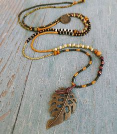 Why We Fall for Leaves in Handmade Jewelry - A Beaded Life Beaded Jewelry, Handmade Jewelry, Beaded Necklace, Pendant Necklace, Thinking Photos, Fractals In Nature, Leaves Changing Color, Peyote Bracelet, Peyote Stitch