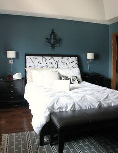Dark blue paint for bedroom blue bedroom paint paint color smokey blue by for the home Bedroom Wall Colors, Blue Bedroom, Home Decor Bedroom, Master Bedroom, Bedroom Modern, Trendy Bedroom, Relaxing Bedroom Colors, Bedroom Closets, Blue Rooms