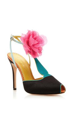 I AM DROOLING OVER THESE SHOES! Silk Satin Amphora T Strap Heels with Floral Pom Pom by Charlotte Olympia via Moda Operandi