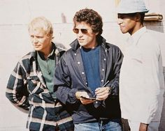 David Soul, Paul Michael Glaser and Antonio Fargas on the set of Starsky & Hutch