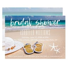 #invitations #wedding #bridalshower - #Beach with Sun hat and Flip Flops Bridal Shower Card