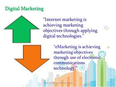 "Digital Marketing ""Internet marketing is achieving marketing objectives through applying digital technologies."" ""eMarketin..."