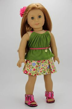 Handmade 18 inch doll clothes  Green and floral 4 piece skirt