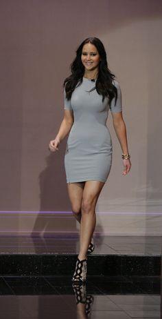 Jennifer Lawrence Wearing Gray on Tonight Show | Pictures | POPSUGAR Celebrity