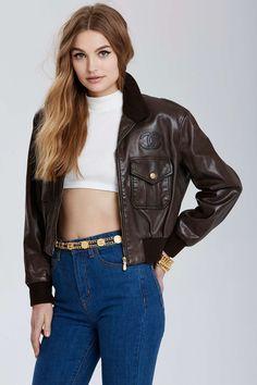 Vintage Chanel Saint-Denis Leather Bomber Jacket