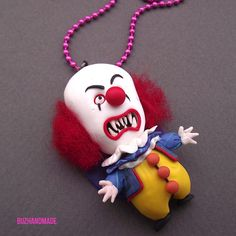 Pennywise IT cult horror FANART polymer clay - necklace via Etsy