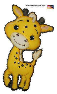 Jirafa en foamy Pikachu, Baby Shower, Fictional Characters, Fluffy Animals, Molde, Stuff Stuff, Murals, School Folders, Giraffes