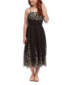 Loving this Black Zebra Midi Dress on #zulily! #zulilyfinds