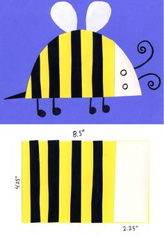 Easy Bumblebee Collage. Make block of strips first, then cut out the body. #collage #bumblebee