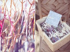 crystals on ribbons in a tree; An Outdoor Wedding with lots of DIY Paper Details: Melissa + Torrey