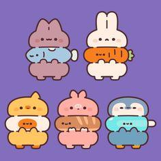 Cute Animal Drawings Kawaii, Cute Little Drawings, Kawaii Art, Cute Drawings, Cute Doodle Art, Cute Doodles, Cute Art, Bubble Stickers, Cute Stickers