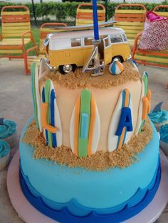 this is close to the cake i did for Sadies bday but minus hula monkeys and put a die cast vw van. easy peasy