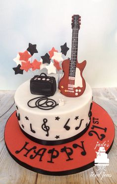 Guitar cake music cake birthday cake Guitar cake Music cake birthday cake 376 Source by pa Ninja Birthday Cake, Guitar Birthday Cakes, Guitar Cake, Adult Birthday Cakes, Themed Birthday Cakes, Happy Birthday, Bolo Musical, Music Cookies, Music Themed Cakes