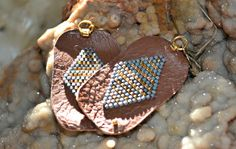 """Gold and Seafoam Beaded Earrings, 2 1/4"""" Long, Cognac Brown Leather on Etsy, $95.00"""