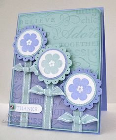 handmade card ... luv the layered flowers with adorable ribbon stems ... aqua and lavender ...