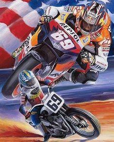 Flat Track Motorcycle, Dirt Track Racing, Motorcycle Art, Bike Art, Road Racing, Motogp, Nicky Hayden, Speedway Racing, Speed Art