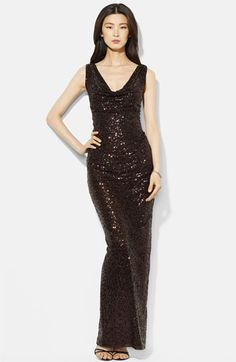 Lauren Ralph Lauren Cowl Neck Sequin Gown available at #Nordstrom