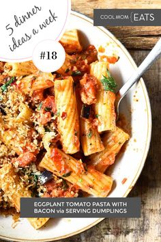 Each week we share 5 dinner ideas for families, and this week's includes this magnificient and easy eggplant tomato pastaq with bacon from Serving Dumplings #mealplan #dinnerideas #pasta #familydinner #easyrecipe | see all of them at cool mom eats Yummy Pasta Recipes, Easy Healthy Recipes, Dinner Recipes, Veggie Quiche, Healthy Family Dinners, Bacon Pasta, Recipes For Beginners, Kid Friendly Meals, Dumplings