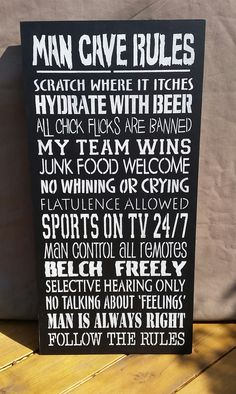 Man Cave Rules, man cave, man cave decor, man cave sign, daddy gift, dad gift, best man gift, husband gift, new home sign, study, wooden by FioreCrafts on Etsy Man Cave Rules, Man Cave Signs, Daddy Gifts, Gifts For Husband, Custom Wood Signs, Hand Painted Signs, Home Signs, Junk Food, Letter Board