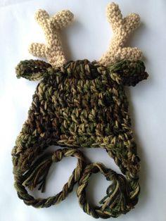 FREE SHIP Camo Antler Hat by CrochetforKiddos on Etsy, $19.75