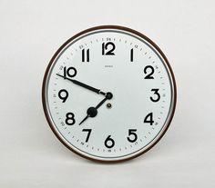 Vintage Machine Age Art Deco Wall Clock / Mechanical Clock / Key Wind Up Clock / Kienzle / 40s Germany | by orangem6