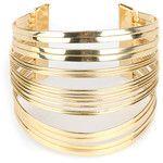 Golden Multilayer Bar Open Cuff Bracelet