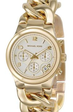 Shiny! MICHAEL Michael Kors Chain Bracelet Chronograph Watch