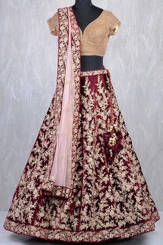 Maroon & Gold Velvet Zardosi Embroidered Bridal Lehenga-GC2256 Indian Bridal Outfits, Indian Bridal Wear, Indian Wear, Wedding Lenghas, Saree Wedding, Bridal Lehenga Online, Eastern Dresses, Indian Couture, Indian Designer Wear