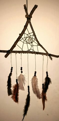 Woodland Triangle Dreamcatcher    Materials- Waxed cotton, Hemp Cord, Wood beads, Turkey Feathers, Silver Charm and, Maple Tree limbs