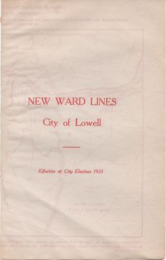 Map of the New Ward Lines of the City of Lowell, Massachusetts, 1927, good shape by VintageNEJunk on Etsy
