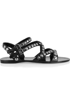 Miu Miu|Studded leather sandals|NET-A-PORTER.COM