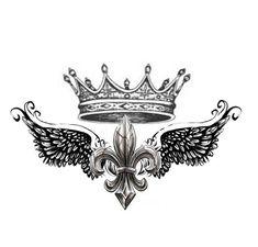... shoulder tattoo design of Fleur De Lis with Crown. by KristinaPgv
