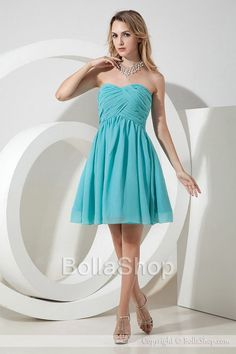 Elegant A Line Sweetheart Ruched Bodice Empire Chiffon Short Bridesmaid Dresses - http://www.bollashop.com/bridesmaid-dresses_c1220.html