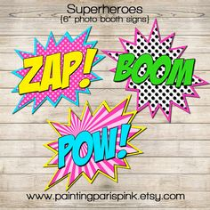 "Photo Booth Signs 6"" & 8"" - Superheroes Girls 