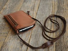 iPhone 7 - iPhone 7 Plus Case Bovine Leather Mini Bag. Organizer with Zippers and Pockets Purse Includes Neck Strap. Cover Sleeve Pouch 6 6s