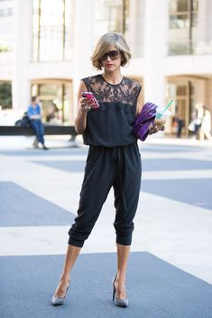 Love the jumpsuit - Street style from New York fashion week