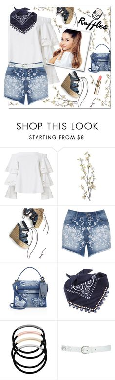 """ruffled top"" by katymill ❤ liked on Polyvore featuring Exclusive for Intermix, Pier 1 Imports, Stuart Weitzman, Mat, Valentino, L. Erickson, M&Co and ruffledtops"