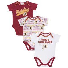 Washington Redskins Infant Burgundy White 3-Piece Bodysuit Creeper Set 6220ab667